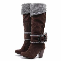 24b3dd327 Karinluna 2018 Tamanho Grande 33-43 Atacado de Salto Alto Inverno Botas de  Pelúcia Mulheres Sapatos Botas Mulher Deslizamento em Botas de Mulher de  Festa ...