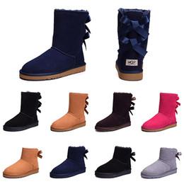 Signore del progettista scarponi da neve online-UGG Nuove donne di design Inverno Stivali da neve Moda Australia Classico mezzo arco corto stivali caviglia ginocchio Bowknot ragazza signora rosa rosso grigio Boot 36-41