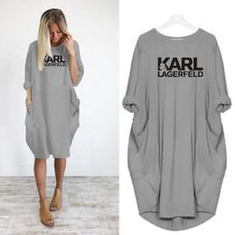 Lose große kleider online-Frauen Karl Beiläufiges Loses Kleid Brief Frühling Herbst Große Größe 4xl 5XL Plus Größe Kleidung Kleid