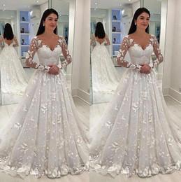 2019 weißes böhmisches mutterschaftskleid Sexy Frauen Brautkleid-weiße Spitze lange Kleid mit tiefer V-Ausschnitt mit langen Mesh-Spitze-Hülsen-A-Linie Plissee bodenlangen Kleider