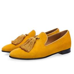 Mocassins mauves en Ligne-K Luxury Suede Slippers Men Tassel Loafers Purple Smoking Slip-On Men'S Boat Flats Party Wedding Male Footwear Mens Dress #187975