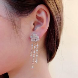 Серьга на вечер онлайн-Vintage Dangle Tassel Earrings Cubic Zircon Designer Luxury Rose Earrings Woman Gift Evening Accessories Free Shipping