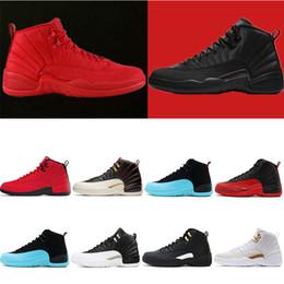 quality design 7f324 13dc0 12 12s Nouveau 12 12 hommes chaussures de basket-ball Sneakers noir blanc  PLAYOFF THE MASTER Gym rouge gamma bleu 12s chaussures de sport pour hommes  7-13 ...