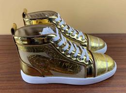 scarpe da ginnastica italiana Sconti Cheap Mens scarpe firmate High Top inferiori rosse del cuoio genuino suola in gomma scarpe di marca italiani dimensione 35-46 della scarpa da tennis