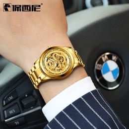 2019 роскошные часы из чистого золота BOSCK Top  Gold Men Warch 3D CNC Machining Dragon Face Men Quartz Watch Full Solid Watchband Watch Wristwatches скидка роскошные часы из чистого золота