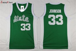 Maillots de retour du michigan en Ligne-HOT vendre Green Men 33 Earvin Johnson Michigan State Jersey Johnson College Jersey broderie rétro lycée Throwback de basket-ball Jersey