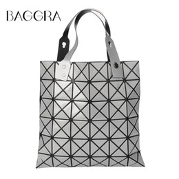Pintando formas geométricas online-Al por mayor- Bolsos de moda Laser Geometric Diamond Shape Sliver Paint Patchwork Tote Mujeres Hombro Bao Bao Ladies Bag Sacoche Bolso Mujer