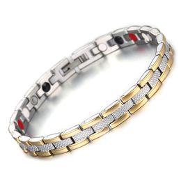 Männer element armband online-Healing Magnetic Bracelet Men / Woman 316L Edelstahl 3 Gesundheitselemente (Magnetic, FIR, Germanium) Goldarmband-Handkette