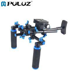 kit dslr Rebajas PULUZ YLG0102E DSLR Rig Dual Handles Free Camera Kit de montaje en hombro para microcámaras DSLR Cámaras Videocámara