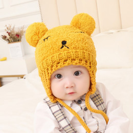 c15f8f9bccf Baby hat male autumn and winter 1 child earmuffs plush warm 6-12 months baby  straps 2 years old children hat tide Accessories discount baby winter  earmuffs ...