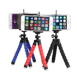 suporte de telefone para selfie Desconto Tripé flexível Tripé Para Câmera Do Carro Do Telefone Celular Gopro Universal Mini Polvo Esponja Suporte Suporte Selfie Monopod Mount Com Clipe