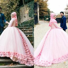 Argentina Vestido de fiesta rosa Vestidos de boda musulmanes Cuello alto Mangas largas Flores de encaje Volver vendaje Vestidos de boda Vestidos de novia musulmanes supplier high back ball gown Suministro