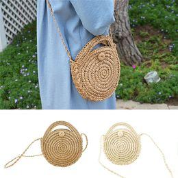 2020 bolsos de mano nacionales 2019 Nuevas mujeres redondas Lady Handmade Knitted Woven Rattan Bags Straw Messenger Beach Bag Girl National Handbags rebajas bolsos de mano nacionales