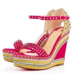 Crampon en Ligne-Elgant designer fond rouge Madmonica tressé coin bride à la cheville spikes sandales gladiateur dames sexy sandales d'été talons EU35-42