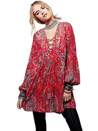 Vestidos de estilo bohemio vintage online-BIYOUTH Vestido largo estilo bohemio con estampado de estilo étnico suelto, túnica informal vintage