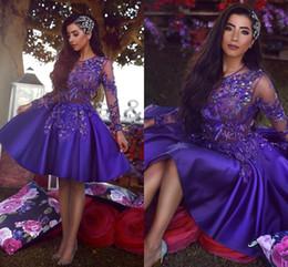Vestido de coctel morado vintage online-Arabia Saudita, púrpura, púrpura, vintage, manga larga, cóctel corto, vestidos de fiesta, una línea, cuello transparente, apliques, vestido moldeado, vestidos de fiesta formales