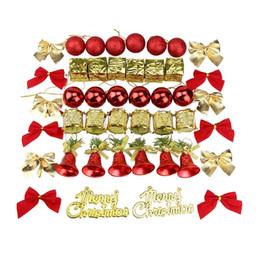 jingle bell ball Rebajas Árbol de la Navidad fijados Surtido inastillable Con Rojo decorativo Bolas de Navidad de los cascabeles de oro Mini tambores y otras X