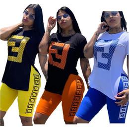 Deutschland Frauen FF Trainingsanzug Sommer Split T-shirt + Shorts 2 Stück Outfits Kurzarm Sportanzug Streetwear Sportswear Jogging Set Strampler A52104 cheap split sportswear Versorgung