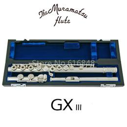 Wholesale Muramatsu GX III de alta qualidade C Tune teclas buracos abertos Flauta banhado a prata New Musical Instrument E Key flauta com caso frete grátis