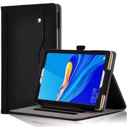 huawei mediapad case inch Скидка Бизнес Личи Pattern Откидная Книга Обложка для Huawei MediaPad M6 8,4-дюймовый 2019 Планшетный планшет с слотами для карт Ремешок