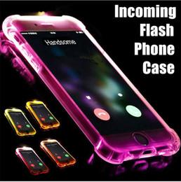 leuchten telefonhörer iphone plus Rabatt LED Incoming Light Up Telefon Fall erinnern Anruf Flash Cover Ultra Thin TPU Glitter Flash transparenten Fall für iPhone 6 6S 7 8 Plus X