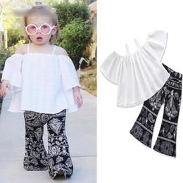 3bed23bd874 New Summer Baby Girls Clothes Set Kids Slash Neck Sun-top Tops + Vintage  Bell-bottoms Pants Girl 2pcs Set Children Outfits 14524
