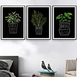 Pote de imagens de pintura on-line-Emoldurado pintura da lona Pictures decoração da cozinha de parede do escritório Planta de vaso E Letters A4 Art Impresso Nordic Estilo Moda Posters