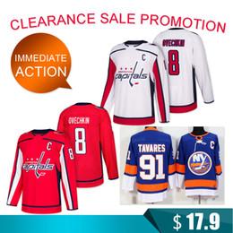 Washington nueva jersey online-Liquidación Washington Capitals 8 Alex Ovechkin 91 camisetas de Tavares Jersey de hockey de los New York Islanders Promoción de la mejor calidad
