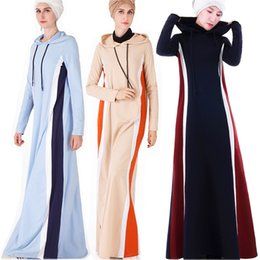 более толстое платье Скидка Мусульманин взрослый хит цвет с капюшоном абая Арабская мода толще теплый мусульманин абая платья Платья музыкальный халат молитва толстовка Рамадан