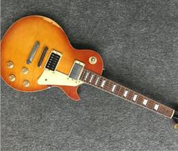 2019 magasin de guitare classique Custom Shop LP 100% guitare relique à la main, manche et pièce monobloc, guitare classique # 7 lp standard Limited magasin de guitare classique pas cher