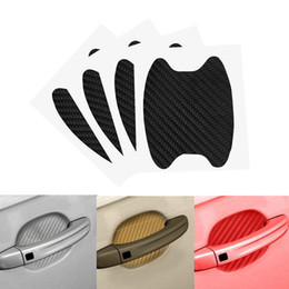 car door handles stickers Promo Codes - NEW 4Pcs Auto Door Handle Scratch Protector Car Sticker Door Bowl Protection Film Carbon Fiber Vinyl Car Styling Body Decoration