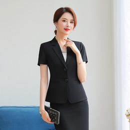 f47c2cf15bf 2019 uniformes de belleza Mujeres de verano Blazer Office Lady Traje de  manga corta Conjunto Carrera