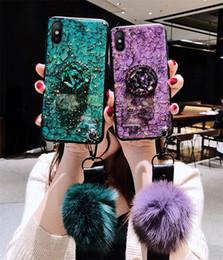 Luxus Epoxy Shiny Phone Case für iPhone X XR XS MAX 7 8 Samsung S10 Note9 J4 2018 mit Hairball-Airbag-Diamanthalterung von Fabrikanten