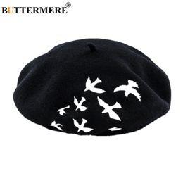 2019 boina del ejército rojo BUTTERMERE 100% lana de la boina francesa Mujeres Bird bordado de lana boina Mujer Negro Blanco Rosa Gris Moda para mujer Sombrero Pintor