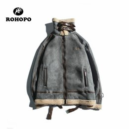 2019 forros de gamuza ROHOPO Unisex Winter Suede Leather Jacket Cashmere Liner College Hombre Keep Warm Casual Outwear Patchwork Leather Spring Coat forros de gamuza baratos