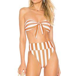 8cab03fb80c New Sexy Striped Bikini 2019 Brazilian High Waist Bikinis Set Swimsuit  Women Swimwear Bandeau Bathing Suit Swim Wear for Women