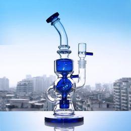26.5cm Tall Glass Bong Blue Green Water Bongs Fumador reciclador de pipa con 14.4mm Conjunto de cuenco de vidrio Dab Rig Tubo de quemador de aceite de vidrio Tubos desde fabricantes