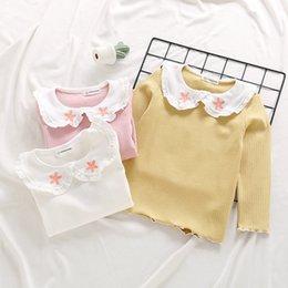 2019 camicie collari all'ingrosso Colletto per pan da compagnia a manica lunga T Shirt manica lunga per bambina con ricamo Fiore abbigliamento 100% cotone Primavera all'ingrosso sconti camicie collari all'ingrosso
