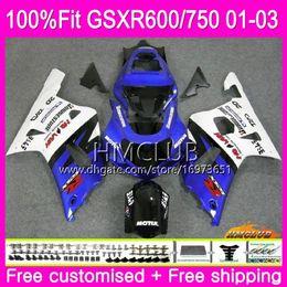 gsxr k1 blau weiß Rabatt Einspritzung für SUZUKI GSXR 600 750 GSX-R750 GSXR600 01 02 03 4HM.14 GSX R600 GSX R750 K1 GSXR-600 GSXR750 Blau Weiß 2001 2002 2003 Verkleidung