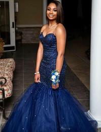 Gorgeous Azul Marino Vestidos De Noche Cariño Ata Para Arriba Con Cuentas De Cristal Sirena Ocasión Formal Vestidos De Baile Por Encargo Caliente