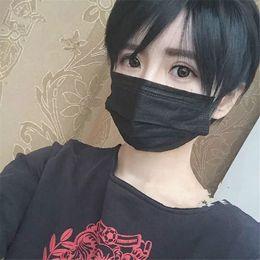 Moda estilo asiático lado japonês franja balck reta peruca de cabelo curto para cosplay amantes para mulher ou homens de