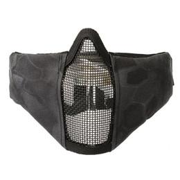 Mezza maschera tattica pieghevole Maschera protettiva in mesh per softair Paintball con rivestimento in nylon 1000D Cinturino regolabile ed elastico da