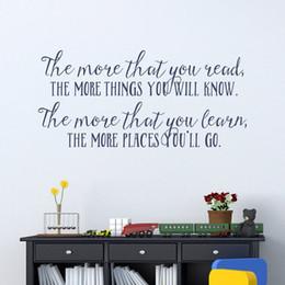 Citações da arte do berçário on-line-Mais Você sabe Citações amante de livro da parede da sala da arte da parede Inspirado vinil adesivo Leitura do Decalque berçário para crianças