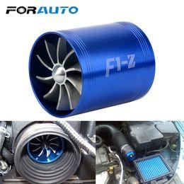 Ventilador de turbina online-FORAUTO Supercharger Car Gas Fuel Saver Fan Auto Air Intake Double Turbine Turbo F1-Z para vehículo Motor Car Modification