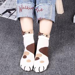 calze a maglia giapponese Sconti 1 paio di calzini di cotone Harajuku simpatico personaggio dei cartoni animati di moda animale design da donna calzino femminile casual stile coccolone donne