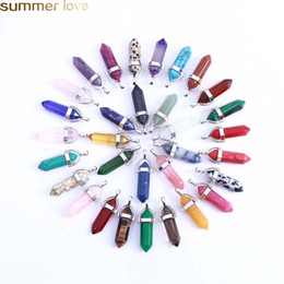 diy bullet jewelry Promo Codes - 10 Pcs   Pack Hexagonal Crystal Bullet Shape Charm For Necklace And Bracelets Mulit Color Natural Stone Pendants DIY Jewelry Making