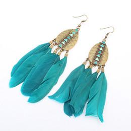 Pendientes de plumas online-Los pendientes de la borla cuelgan los puños del oído araña para las mujeres Pendientes de la pluma de la gota de la joyería 6 estilos apoyan el envío de la gota de FBA G358Q