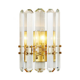Светильники настенные для гостиной онлайн-Delin золото стены бра освещение AC90-260V современный Кристалл настенный светильник Спальня Гостиная светодиодные светильники