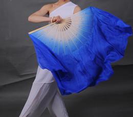 Voile royal blanc en Ligne-100% Soie Style Chinois Bambou Fan Pliant Paire Danse du ventre Soie Veil Folk Danc Double Ventilateur Blanc Bleu Royal Gradient Assort Taille