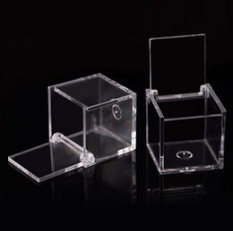 Souvenirboxen süßigkeiten online-200pcs Food Grade durchsichtiger Kunststoff quadratische Kasten-Süßigkeit-Kasten-Schlag-Transparent Geschenk-Verpackung Fall Wedding Favor Souvenirs RRA2070